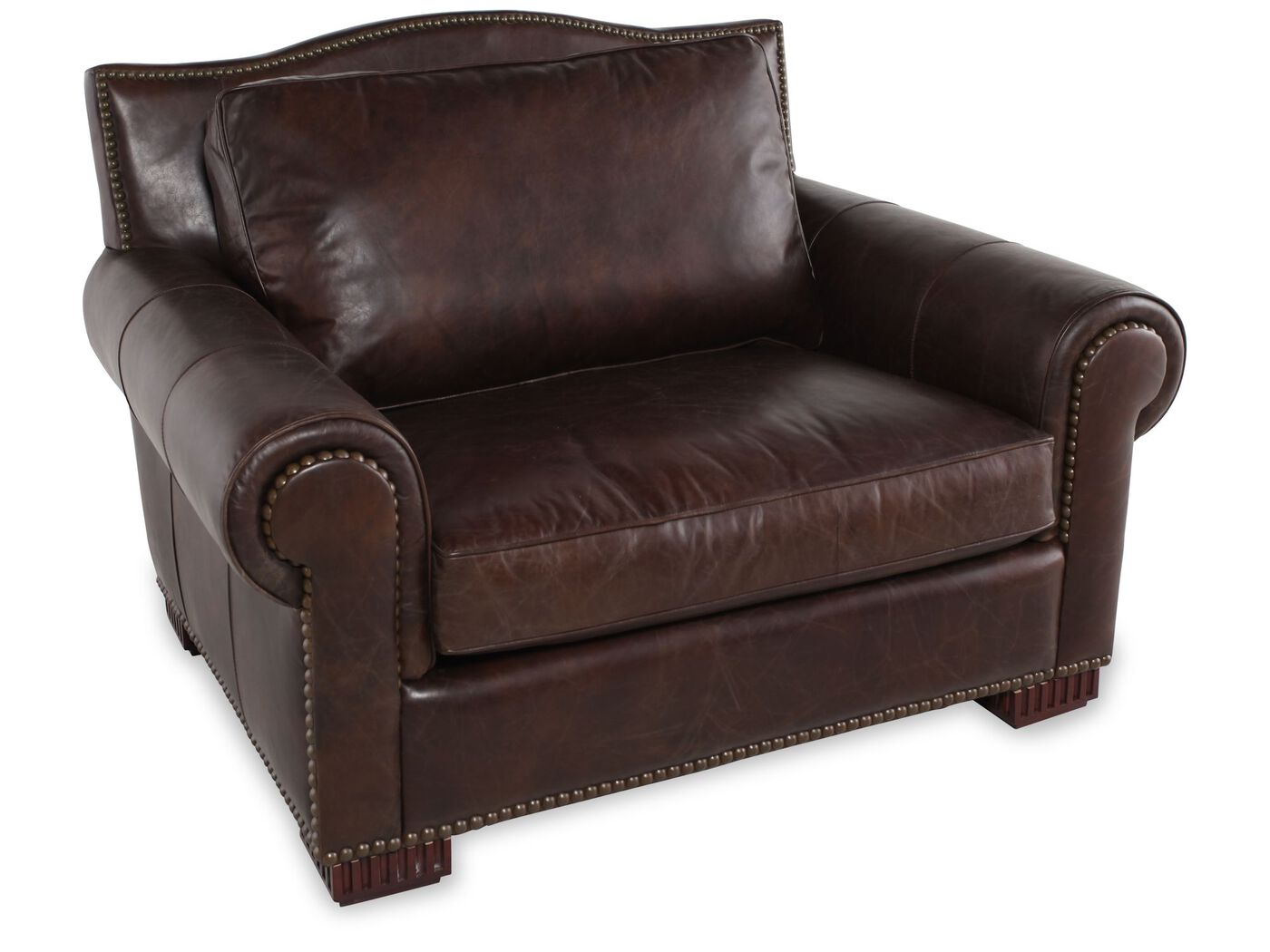 Nailhead Trimmed Leather Chair And A Half In Dark Brown