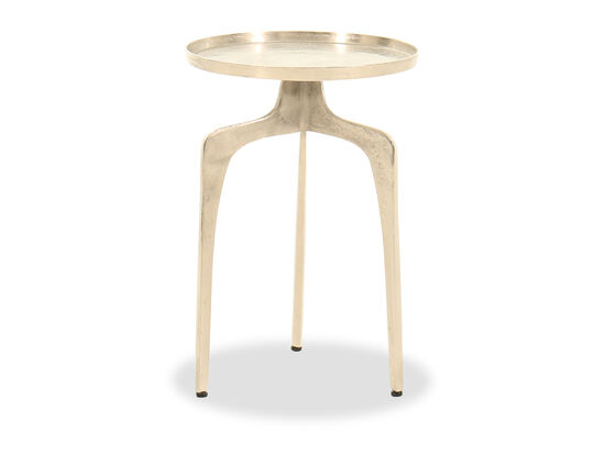 Tripod Legs Modern Accent Table in Distressed Silver