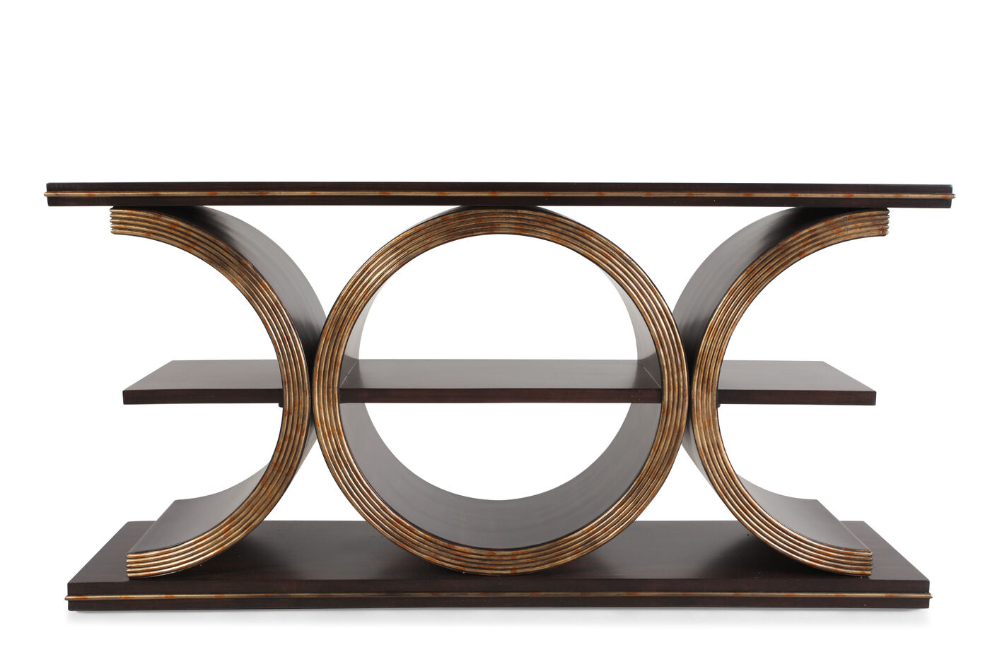 Geometric Body Transitional Console Table In Brown Mathis  ~ Transitional Sofa Tables