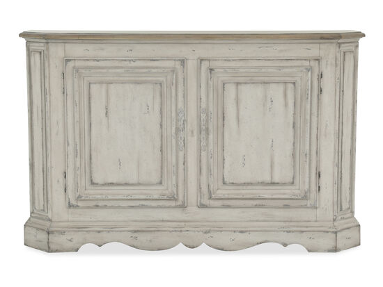 Paneled Doors Casual Console Table in Distressed White