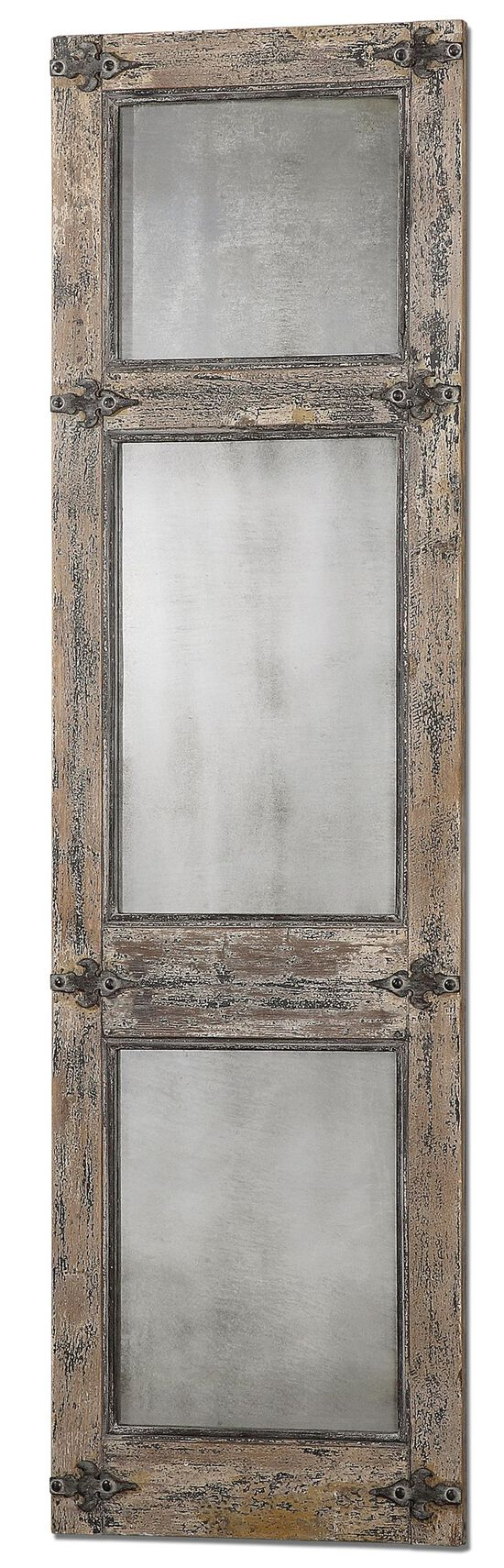 "78"" Distressed Leaner Mirror in Slate Blue"