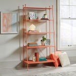 Five-Shelf Mid-Century Modern Bookcase in Coral