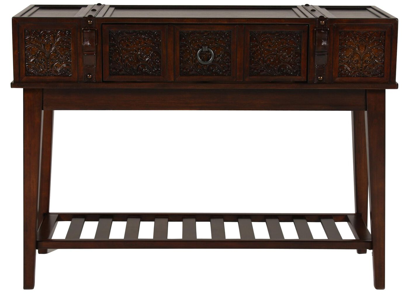 Stamped Insets Traditional Console Table in Brown Mathis  : ASH T7530474 from www.mathisbrothers.com size 1333 x 1000 jpeg 98kB