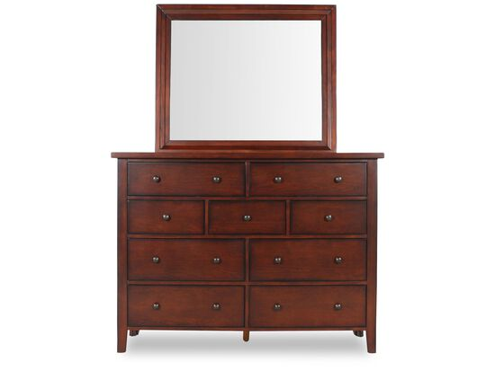 Two-Piece Traditional Dresser and Mirror in Dark Vintage Cherry