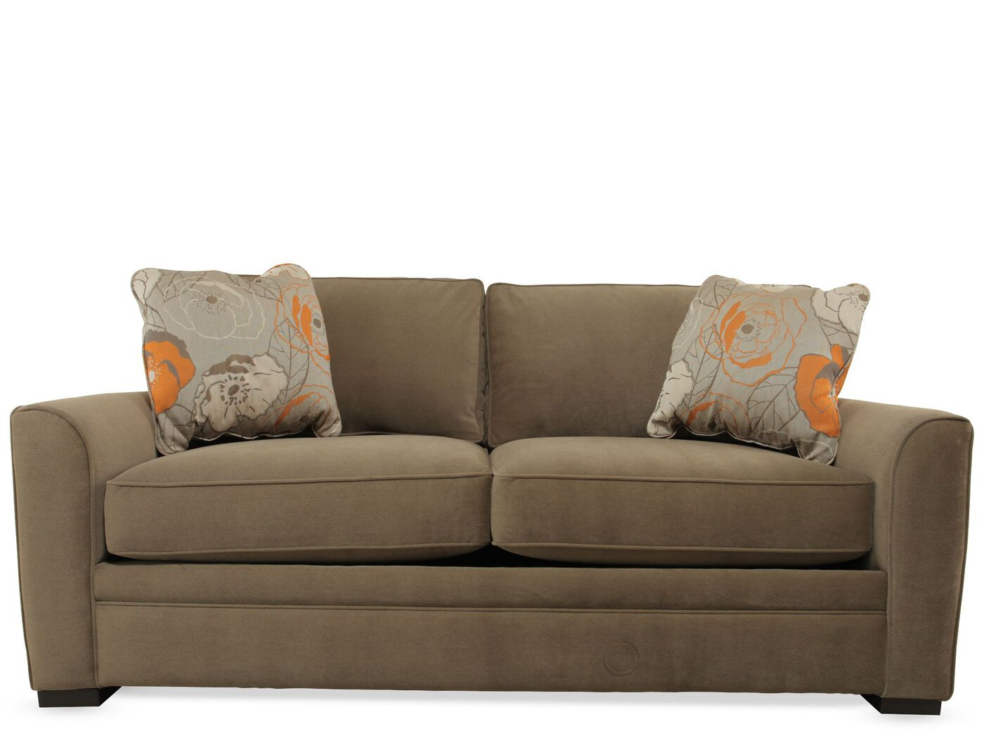 "casual 81"" full sleeper sofa in brown 