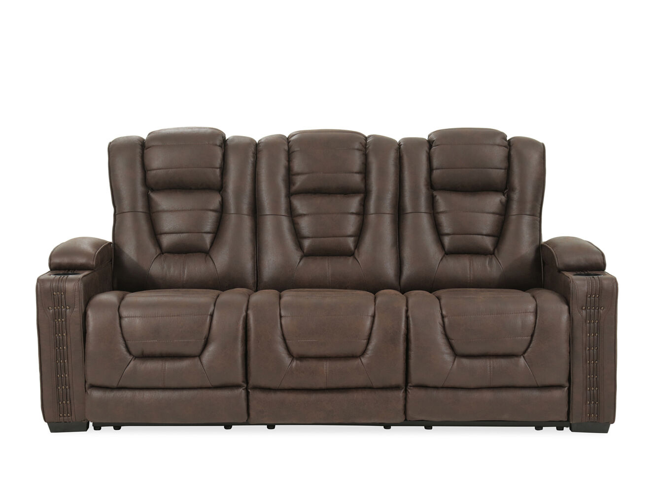 Power Reclining Microfiber 84 Sofa In Brown Mathis Brothers Furniture