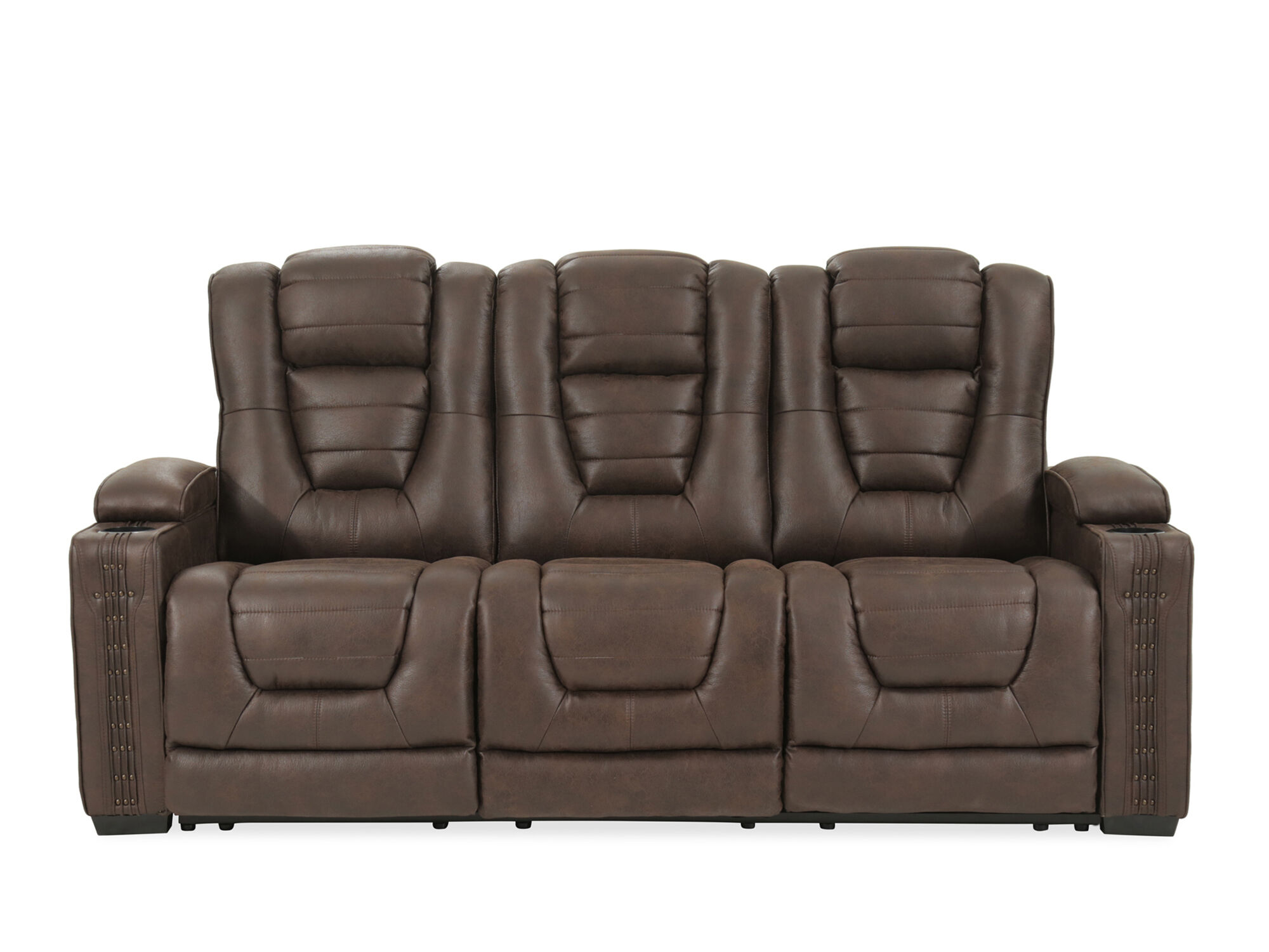 Power Reclining Microfiber 84u0026quot; Sofa In Brown