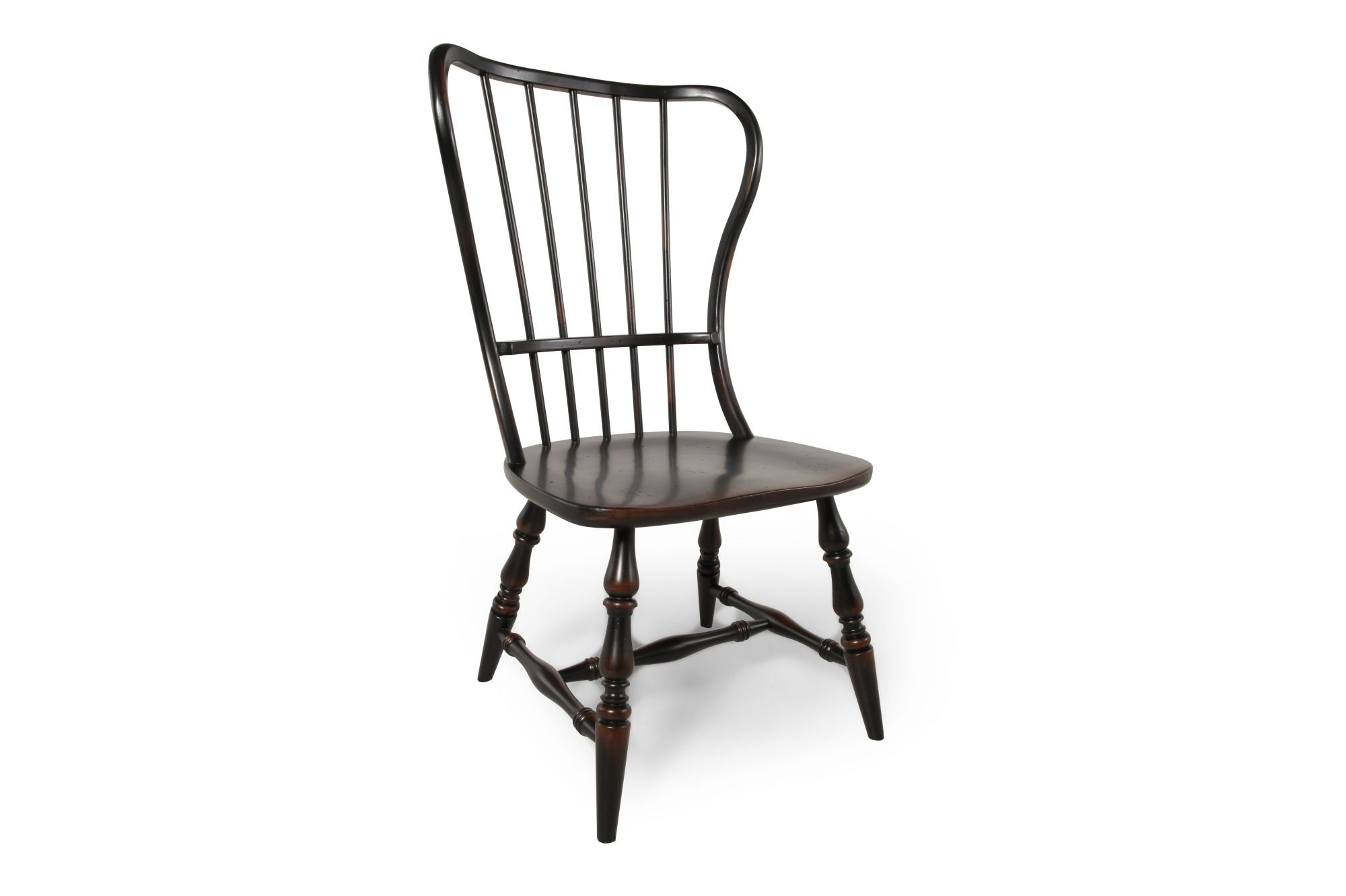 Two Piece Spindle Back Side Chair Set In Espresso