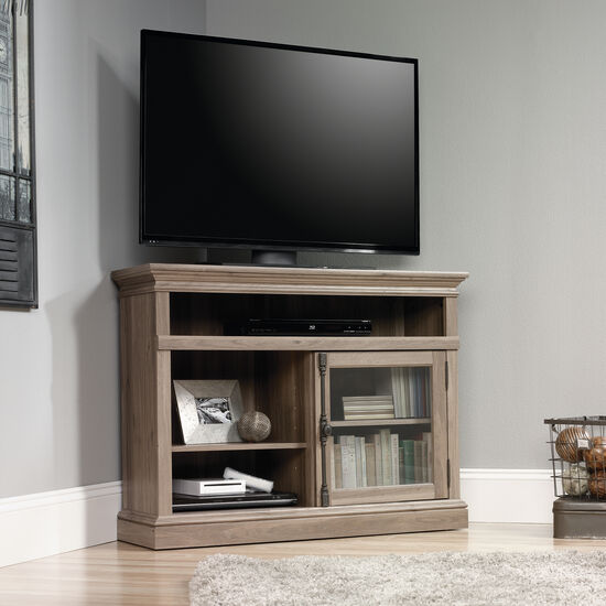 Tempered Glass Door Corner Tv Stand In Salt Oak Mathis