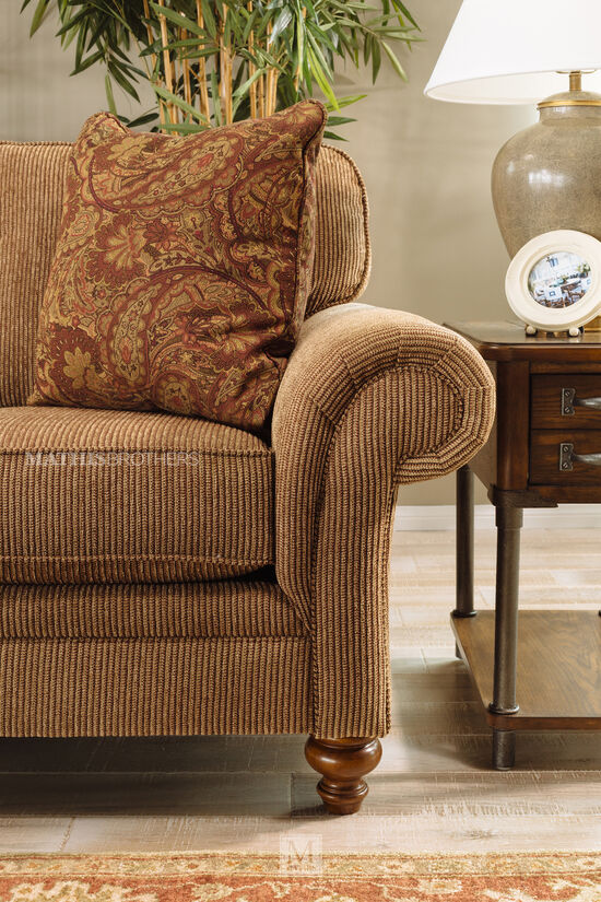 "Textured Traditional 66"" Loveseat in Nut-Brown"