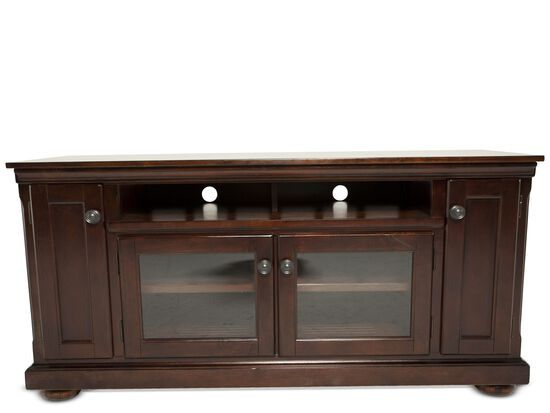 Two-Glass Door Traditional TV Stand in Dark Brown