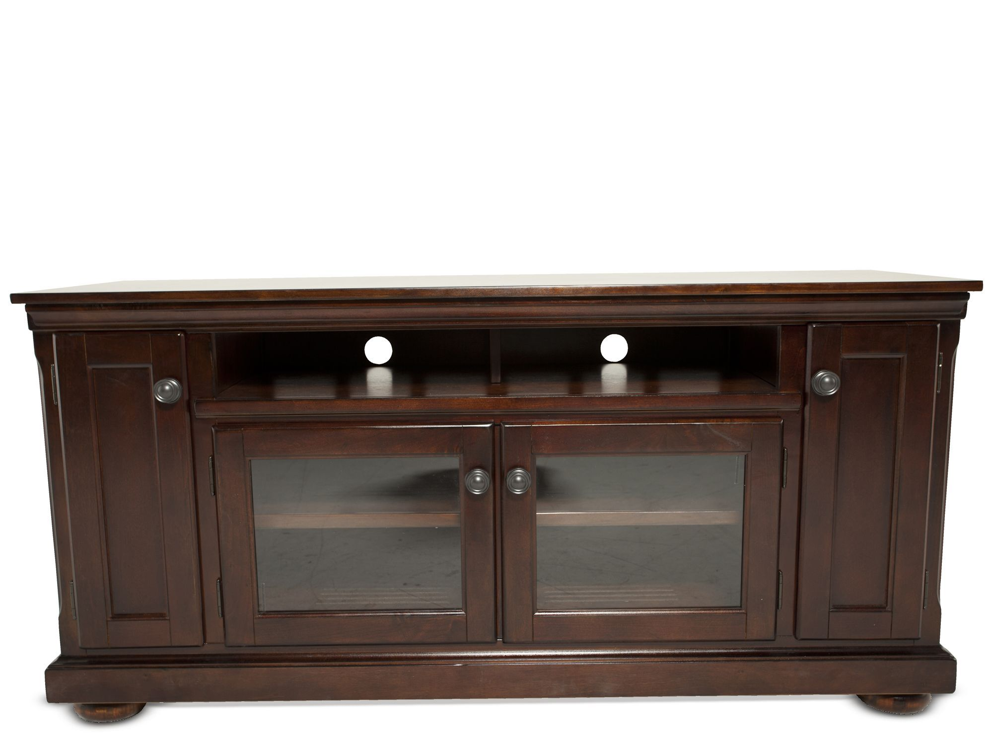 Images Two Glass Door Traditional TV Stand In Dark Brown Two Glass Door  Traditional TV Stand In Dark Brown
