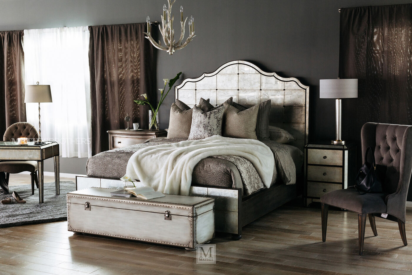 74 glam mirrored arch panel bed - Mirrored Bed Frame
