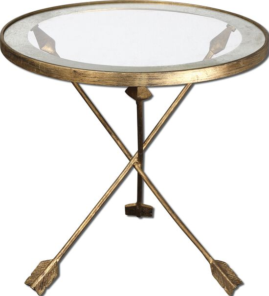 Arrow Base Accent Table in Gold Leaf