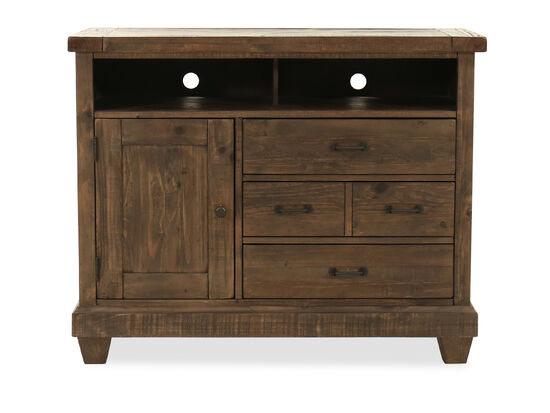 "38"" Natural Pine Media Chest in Distressed Umber"