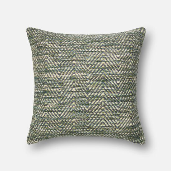 """Contemporary 22""""x22"""" Cover w/Down Pillow in Green/Plum"""