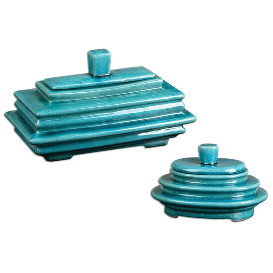 Two-Piece Crackled Boxes in Blue