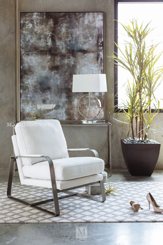Glass Top Contemporary Console Table in Silver