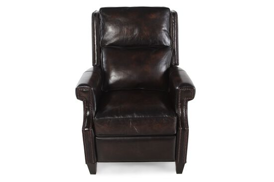 "Nailhead-Trimmed Leather 32.5"" Recliner in Brown"