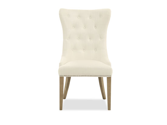 "Wing Back 23"" Upholstered Dining Chair in True White"