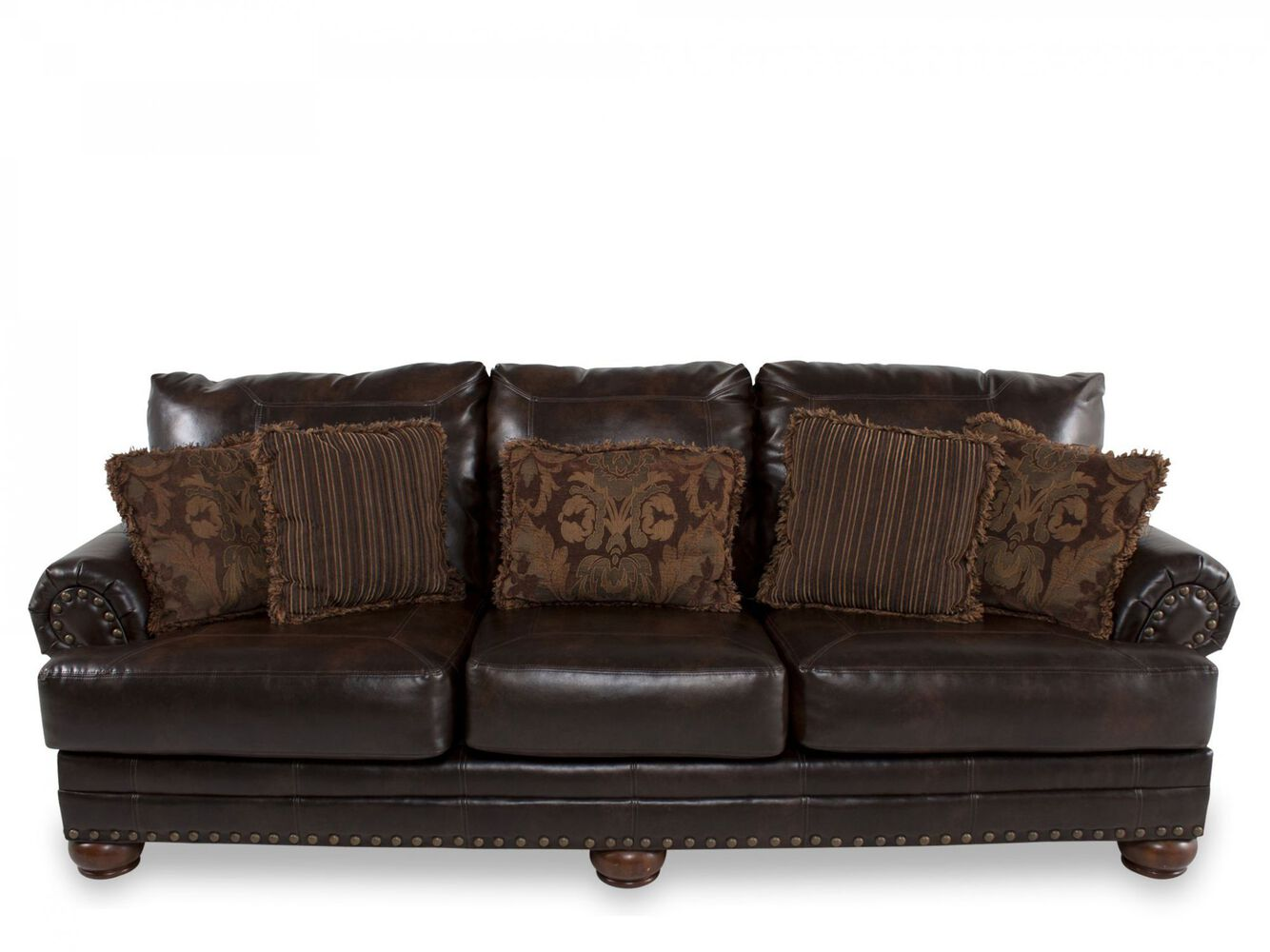 traditional nailhead accented 102 sofa in brown mathis brothers furniture. Black Bedroom Furniture Sets. Home Design Ideas
