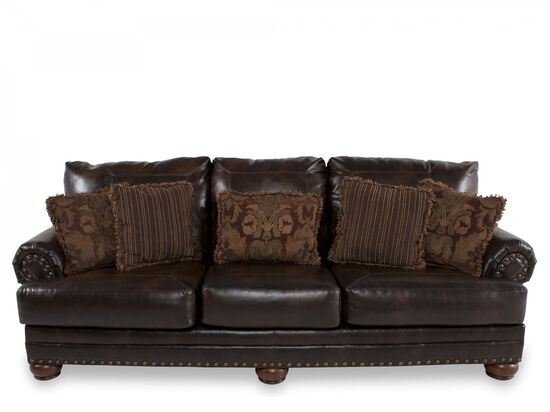"Traditional Nailhead-Accented 102"" Sofa in Brown"