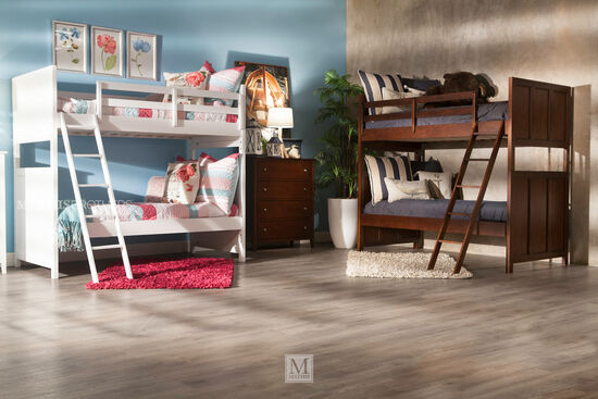 Casual Youth Twin Over Twin Bunk Bed in Brown