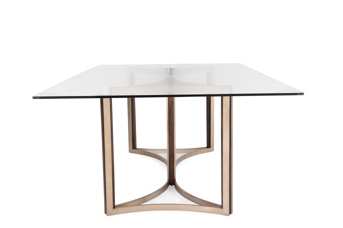 Contemporary 52 glass top dining table in matte gold for 52 kitchen table