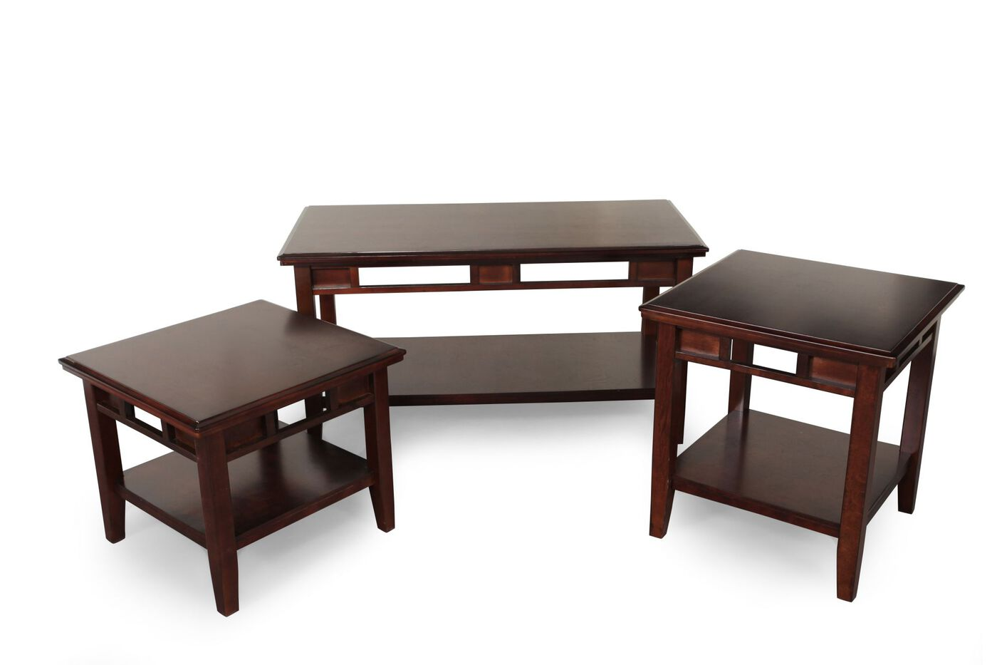 Three Piece Contemporary Coffee Table Set In Dark Brown Mathis Brothers Furniture