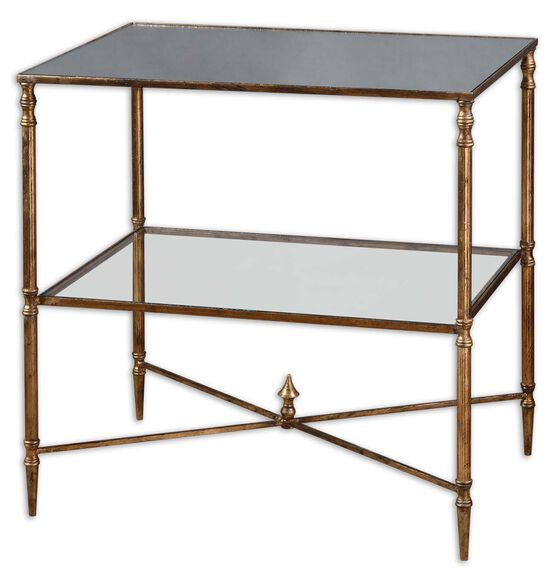 Antiqued Frame Mirrored Glass Lamp Table