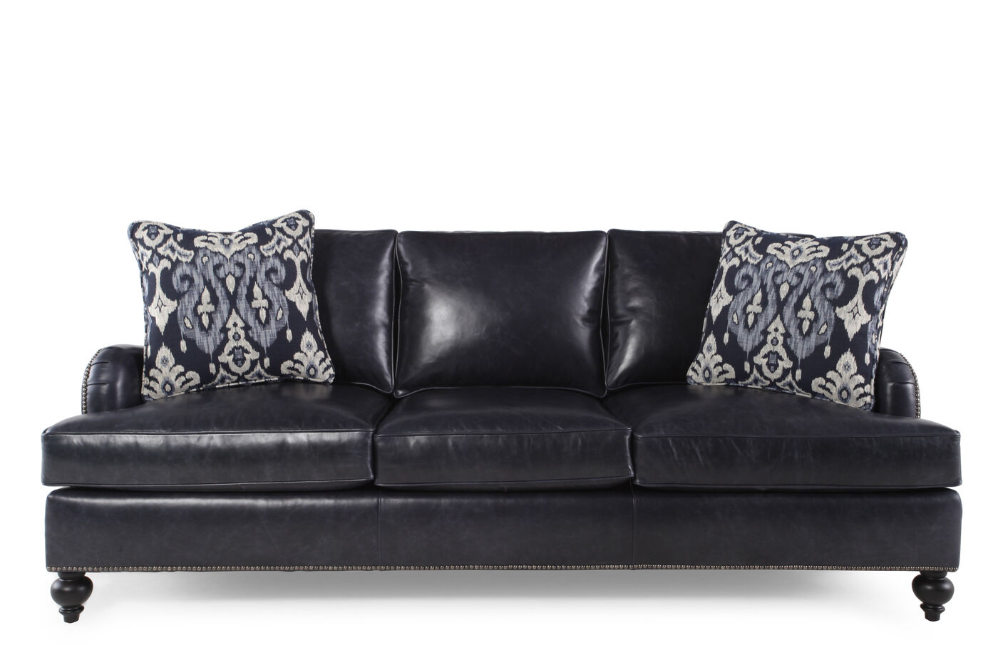 Nailhead accented leather 86 sofa in black mathis brothers furniture Bernhardt living room furniture