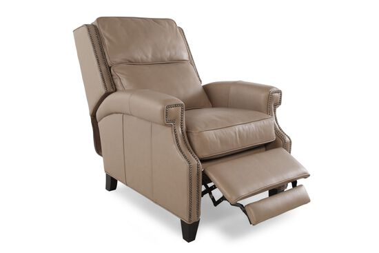 """Nailhead-Accented 32.5"""" Leather Recliner in Brown"""