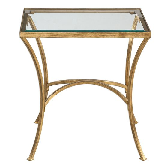 Arched Base Rectangular End Table in Antique Gold