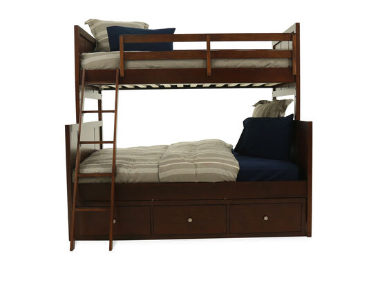 Casual Youth Twin Over Full Storage Panel Bed in Cherry