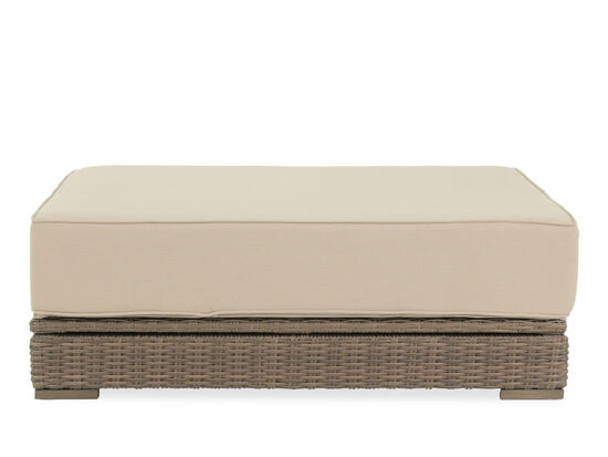 Oversized All-Weather Wicker Ottoman in Light Brown
