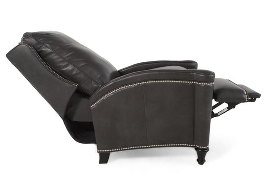 Nailhead-Trimmed Contemporary Recliner in Black