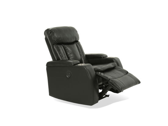 """Leather 36"""" Power Reclinerin Black"""