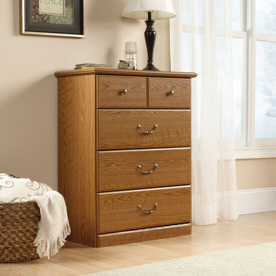 """40"""" Contemporary Four-Drawer Chest in Carolina Oak"""