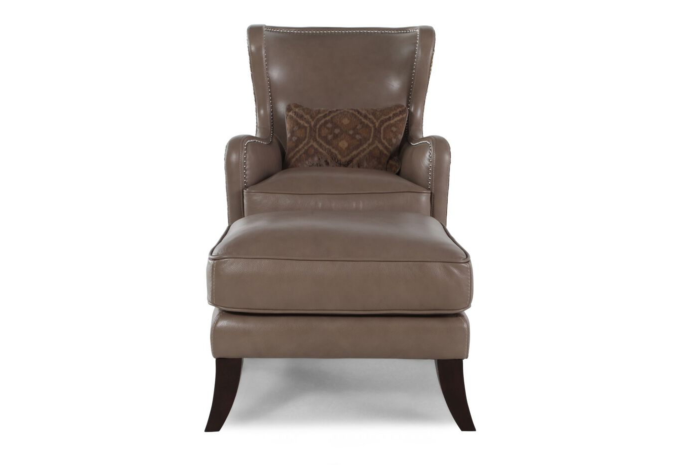 Leather Wingback Chair And Ottoman In Brown Mathis