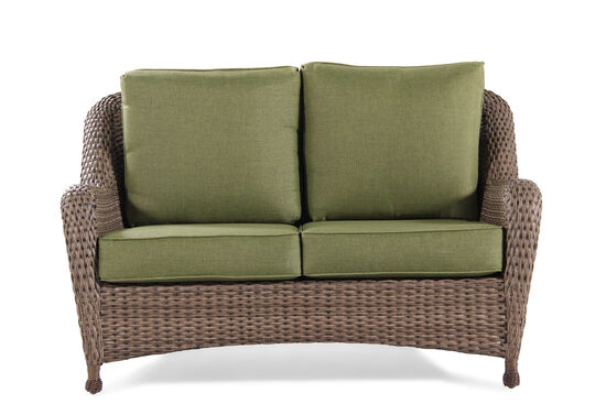 UV-Resistant Aluminum Wicker Love Seat in Olive