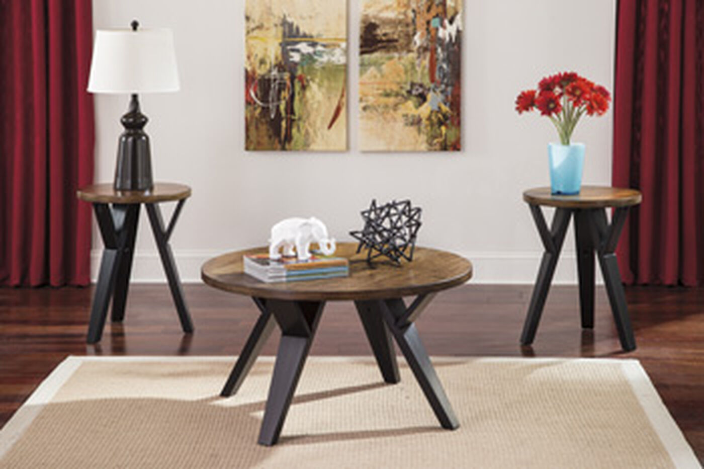 Three piece round contemporary occasional table set in dark brown mathis brothers furniture for Round living room table sets