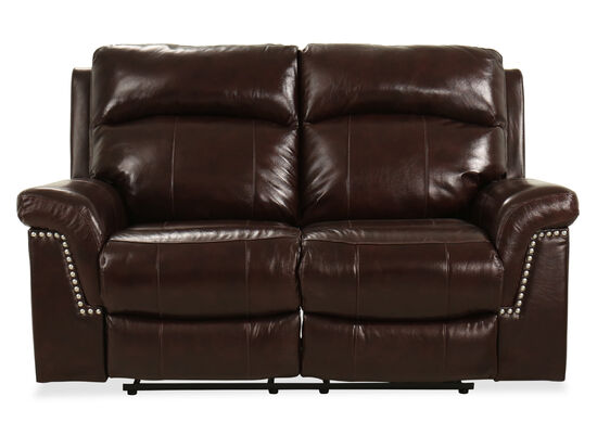 "68"" Leather Power Reclining Loveseat in Brown"