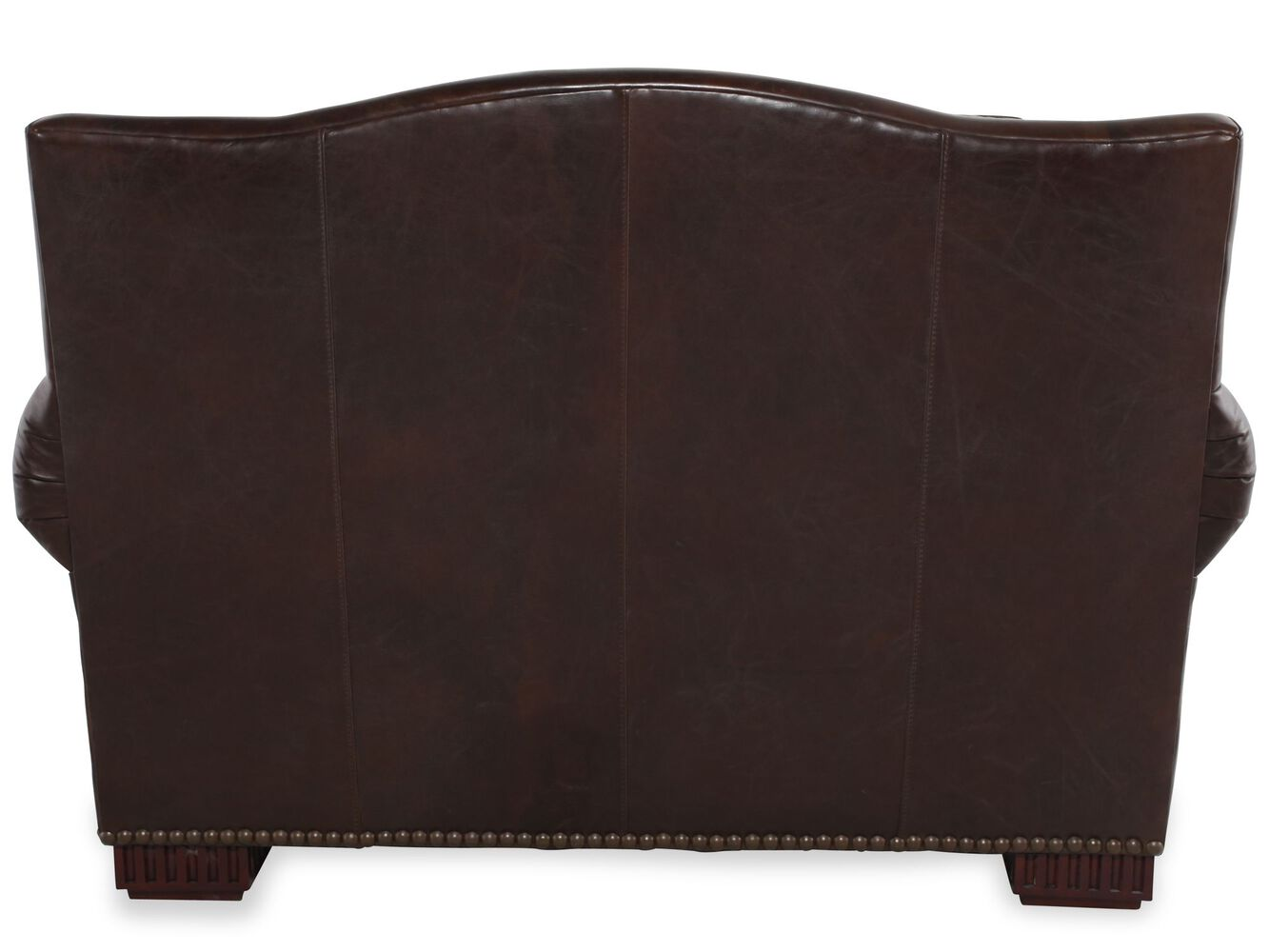 Nailhead-Trimmed Leather Chair and a Half in Dark Brown ...