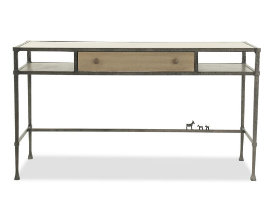 """54"""" Travertine-Insert Top Mid-Century Modern Desk in Brown"""