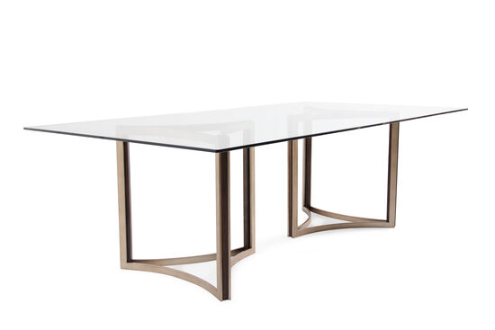 Contemporary 52 glass top dining table in matte gold for 52 glass table top