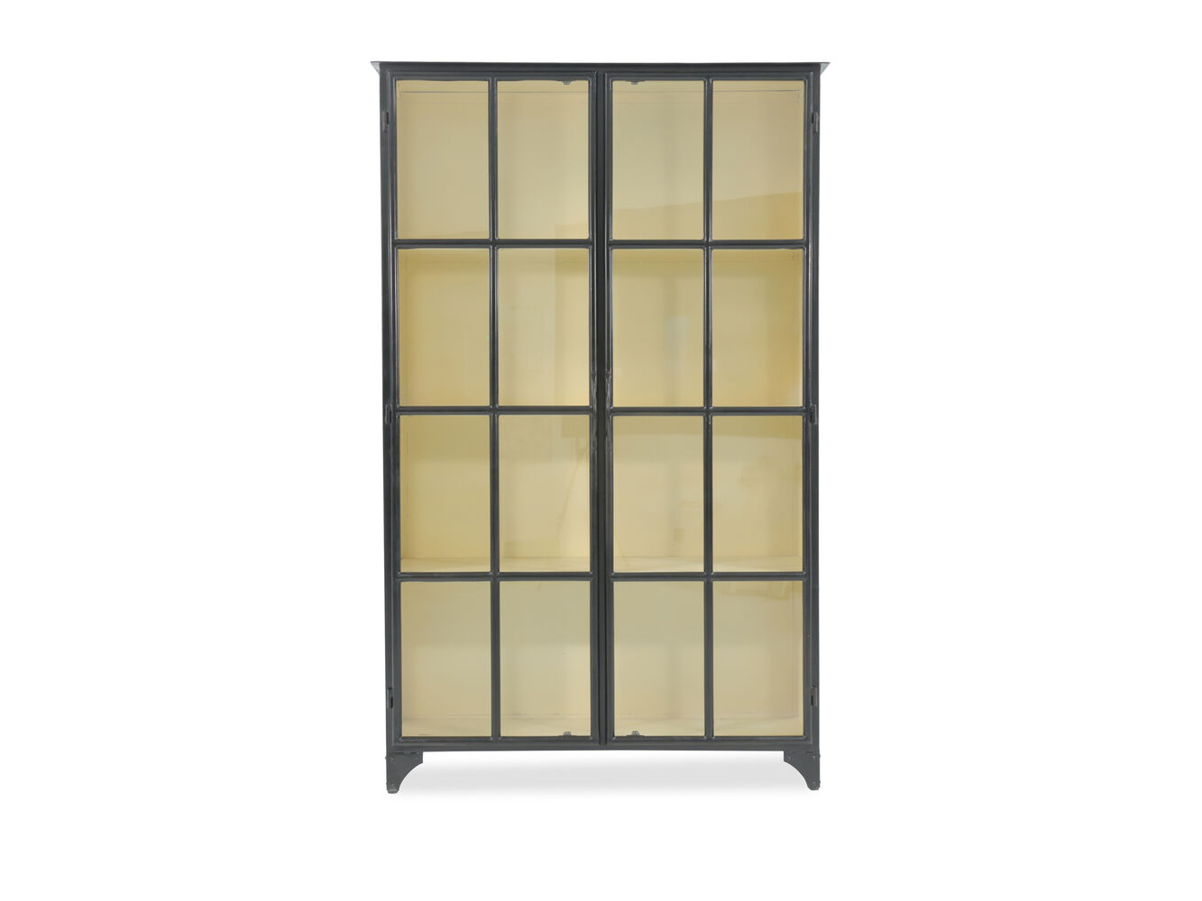 Transitional framed glass door display cabinet in matte for Matte black kitchen doors