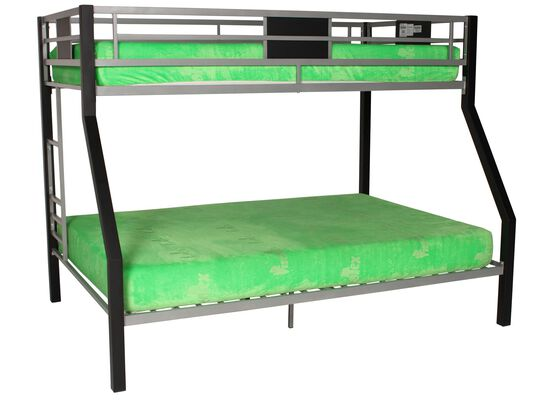 Contemporary Youth Twin Over Full Bunk Bed in Silver