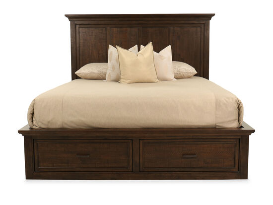 "66"" Transitional King Storage Bed in Dark Brown"