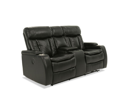 "Power Reclining Leather 72"" Loveseat in Black"