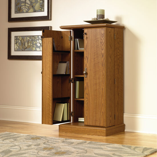 Two-Door Traditional Multimedia Storage Cabinet in Medium Oak